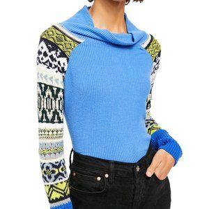 FREE PEOPLE Prism Sweater blue Sz M